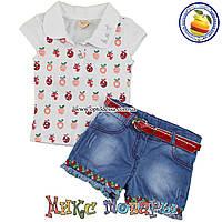 Джинсовые шорты и футболка Летний костюм для девочки от 1 до 4 лет (5358-2)