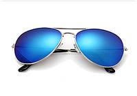 Солнцезащитные очки авиатор (унисекс), голубые стёкла, серебристая оправа
