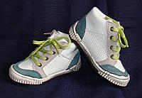 Ботинки детские демисезонные кеды кожаные белые Kouki (размер 20)