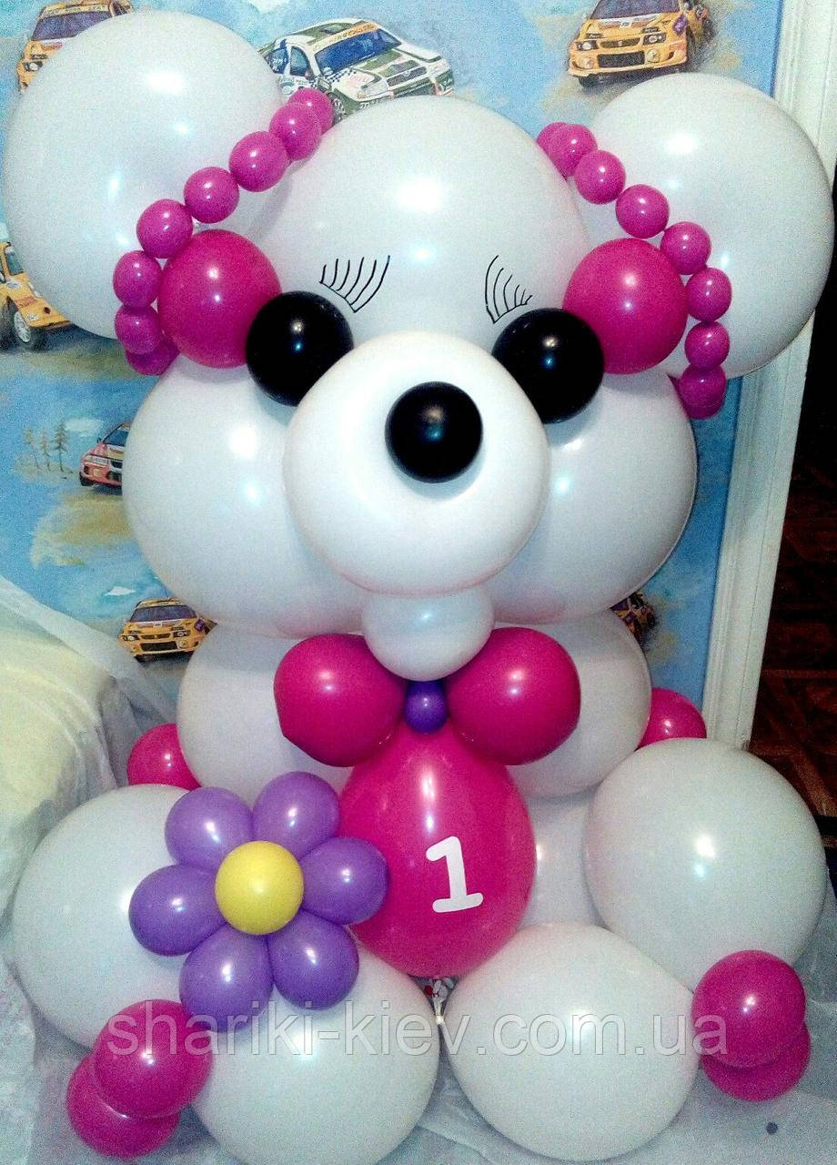 Большой Мишка Гвидо-2 из воздушных шариков на День рождения