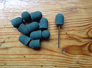 Песочные колпачки 13*19 мм 60 грит  11 шт купол + насадка для фрезера