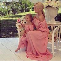Женское-детское Длинное Платье FAMILY LOOK Мама-Дочка, фото 1