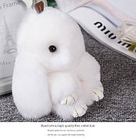 Брелок кролик из натурального меха, размер 20 см, цвет белый