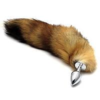 Анальная пробка Foxy Lux с мехом рыжий лисий хвост