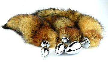 Анальная пробка Foxy Lux с мехом рыжий лисий хвост, фото 2