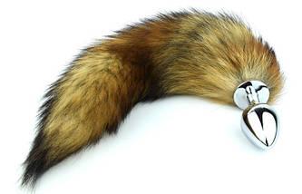 Анальная пробка Foxy Lux с мехом рыжий лисий хвост, фото 3