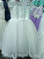 Белое выпускное платье с коротким рукавом 8-11 лет