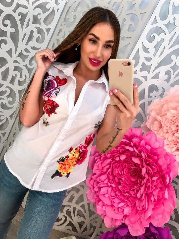 Рубашка летняя с цветами