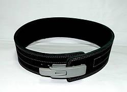 Пояс для пауэрлифтинга кожаный 2-хслойный с карабином, р-р ХХL  (90-115 см)