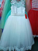 Белое выпускное платье с коротким рукавом 9-12 лет