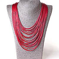 Ожерелье пышный красный жгут из кожзама красный