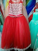 Красное выпускное платье на 9-11 лет