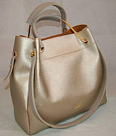 Золотистая женская сумка-шопер B.Elit с отстёгивающимся кошельком и серыми ручками