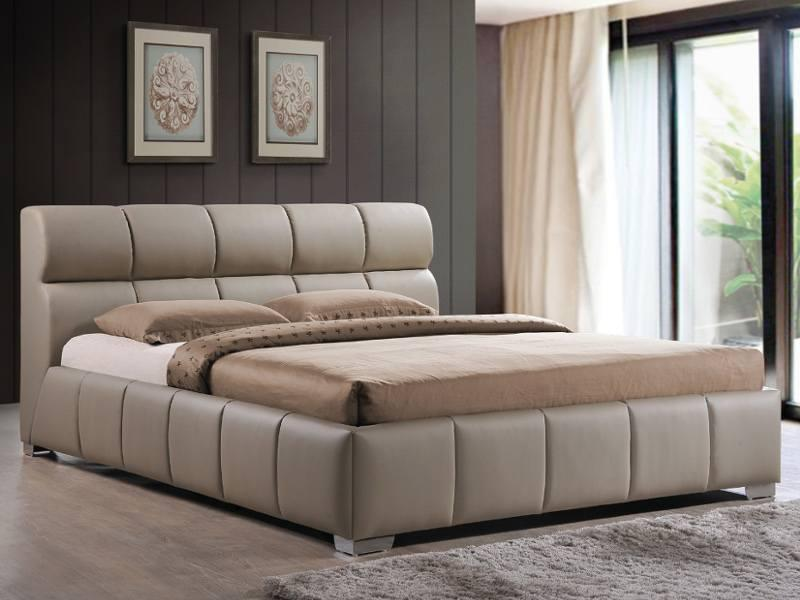 Двуспальная кровать Signal Bolonia 160х200см из кожзама капучино с мягким изголовьем