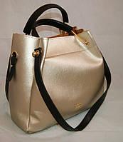 Золотистая женская сумка-шопер B.Elit с отстёгивающимся кошельком и чёрными ручками