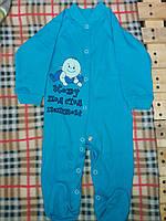 Детский комбинезон-человечек с рисунком на кнопочках, материал интерлок. От 1 мес. до 1 года. Цвет голубой