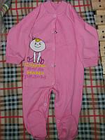 Детский комбинезон-человечек с рисунком на кнопочках, материал интерлок. От 1 мес. до 1 года. Цвет розовый