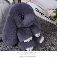 Брелок кролик из натурального меха, размер 15 см, цвет серый