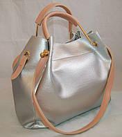 Серебристая женская сумка-шопер B.Elit с отстёгивающимся кошельком и розовыми ручками