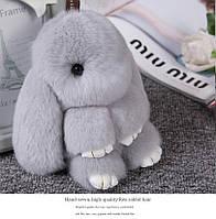 Брелок кролик из натурального меха, размер 20 см, цвет светло-серый