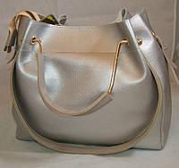 Серебристая женская сумка-шопер B.Elit с отстёгивающимся кошельком и серыми ручками