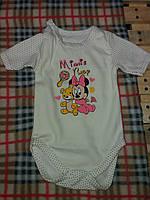 Детский бодик в горошек для девочки материал интерлок. От 1 мес. до 1 года. Цвет бежевый