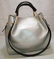 Серебристая женская сумка-шопер B.Elit с отстёгивающимся кошельком и чёрными ручками