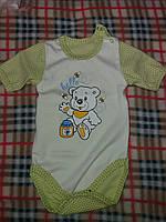 Детский бодик в горошек для мальчика материал интерлок. От 1 мес. до 1 года. Цвет салатовый