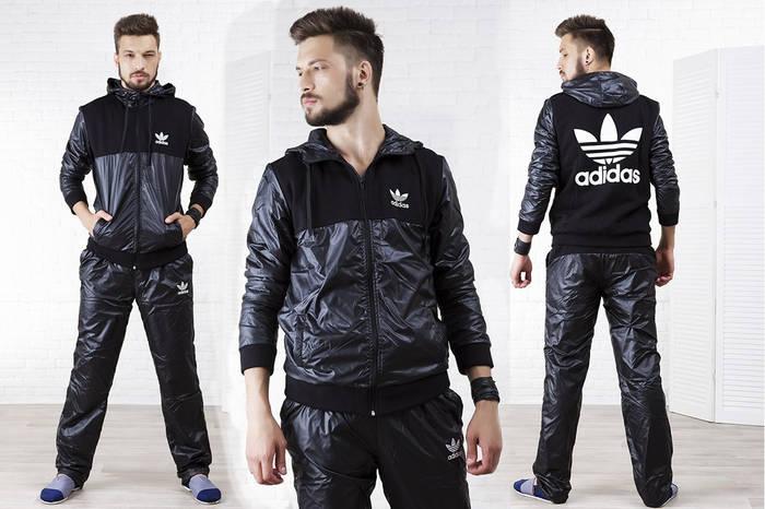 Мужской спортивный костюм плащевка с трикотажем на флисе, теплый, реплика  Adidas 86e3d24e34c
