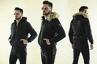 Мужская куртка дутая зимняя очень теплая с овчиной внутри и мехом на капюшоне