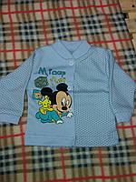 Детская кофточка в горошек для мальчика, на кнопках, материал интерлок. От 1 мес. до 1 года. Цвет голубой