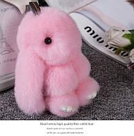 Брелок кролик из натурального меха, размер 20 см, цвет розовый