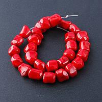 Бусины натуральный камень на нитке коралл красный галтовка шарик d-12-14мм L-40см №11