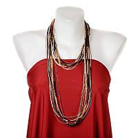 """Ожерелье длинное  """"Нити"""" цепи, белый шнур, тесьма,. Черные бусины 150см"""