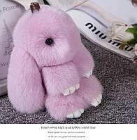 Брелок кролик из натурального меха, размер 20 см, цвет лиловый
