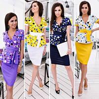 Стильный женский костюм блузка с поясом + юбка / Украина / коттон