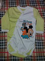 Детский бодик на кнопочках длинный рукав для мальчика, материал интерлок. От 1 мес. до 1 года. Цвет салатовый
