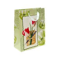 "Пакет подарочный бумажный зеленый  ""Тюльпаны"" 33х26 см"