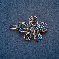 Заколка Цветок 3,5 см синие  стразы