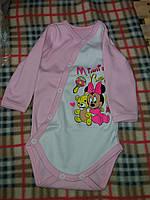 Детский бодик на кнопочках длинный рукав для девочки, материал интерлок. От 1 мес. до 1 года. Цвет розовый