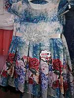Брендовое платье для девочки с коротким рукавом