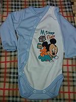 Детский бодик на кнопочках длинный рукав для мальчика, материал интерлок. От 1 мес. до 1 года. Цвет голубой