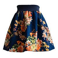 Юбка для девочки стёганая Цветы