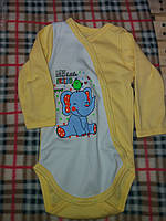 Детский бодик на кнопочках длинный рукав для девочки, материал интерлок. От 1 мес. до 1 года. Цвет желтый