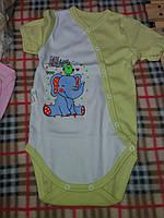 Детский бодик на кнопочках короткий рукав для мальчика, материал интерлок. От 1 мес. до 1 года. Цвет салатовый