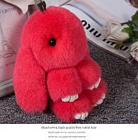 Брелок кролик из натурального меха, размер 15 см, цвет красный