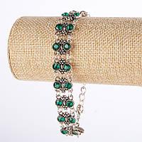 """Браслет под """"капельное серебро"""" двух рядный  с зелеными кристаллами L-17-22см"""