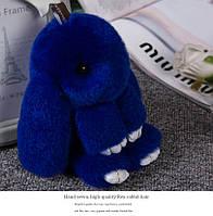 Брелок кролик из натурального меха, размер 20 см, цвет синий