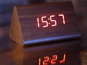 Цифровые светодиодные деревянные часы треугольные, фото 3