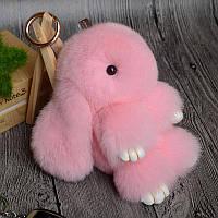 Брелок кролик из натурального меха, размер 20 см, цвет нежно-розовый
